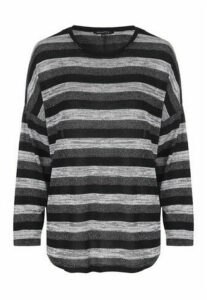 Womens Black and Grey Lurex Stripe Slouch Top