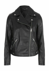Womens Black PU Biker Jacket