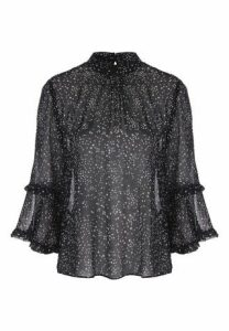 Womens Black and White Star Sheer Blouse
