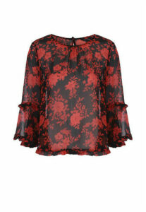 Womens Black and Red Ruffle Blouse