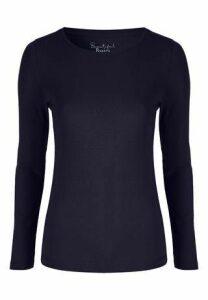Womens Navy Crew Neck Long Sleeve T-Shirt