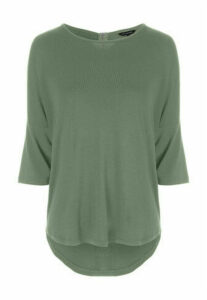 Womens Khaki 3/4 Sleeve Zip Back Top