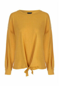 Womens Mustard Tie Front Top