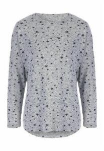 Womens Grey Star Drop Shoulder Top