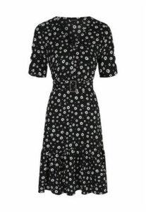 Womens Black Floral Belted Dress