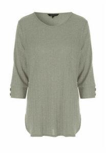 Womens Khaki Ribbed 3/4 Sleeve Top