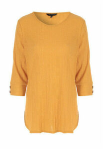 Womens Mustard Ribbed 3/4 Sleeve Top