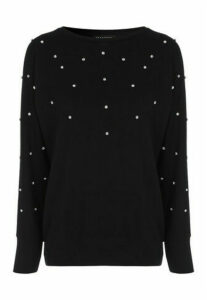 Womens Black Diamante Cosy Top
