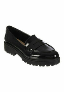 Womens Black Patent Cleated Loafers