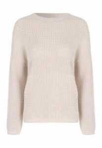 Womens Stone Crew Neck Fishermans Jumper