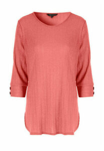 Womens Pink Ribbed Button Cuff Top