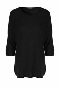 Womens Black Ribbed Button Cuff Top