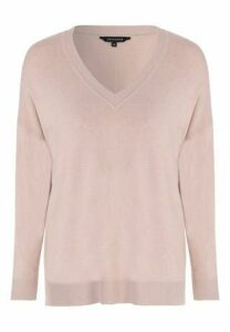 Womens Camel Oversized V-Neck Jumper