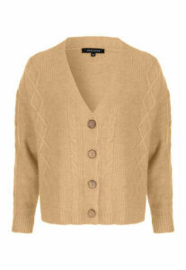 Womens Camel Cable Knit Cardigan