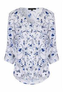 Womens Blue Floral Blouse
