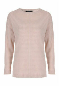 Womens Stone Ribbed Reverse Seam Jumper