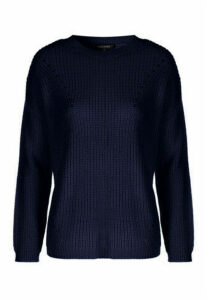 Womens Navy Crew Neck Fishermans Jumper
