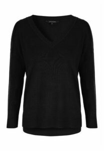 Womens Black Oversized V Neck Jumper