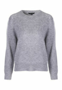 Womens Grey Pointelle Jumper