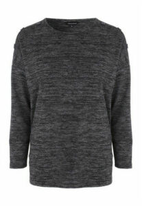 Womens Charcoal Cosy Button Top