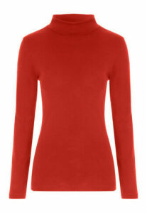 Womens Rust Roll Neck Top