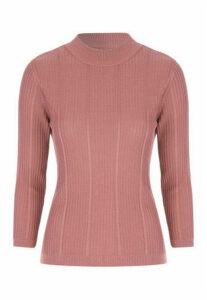 Womens Pink 3/4 Sleeve Jumper