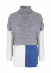 Womens Grey Colour Block Roll Neck Jumper