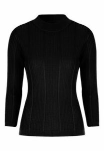 Womens Black Ribbed Jumper
