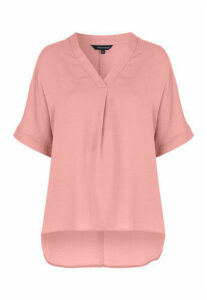Womens Pink V-Neck Top