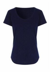 Womens Navy Scoop Neck T-Shirt