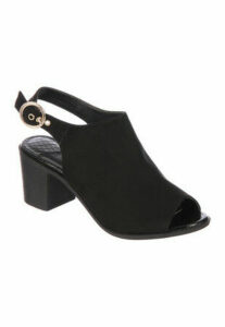 Womens Black Peep Toe Shoe Boot