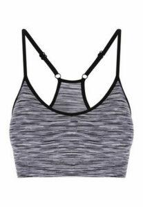 Womens Grey Stripe Crop Top