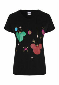 Womens Black Disney Christmas T-Shirt