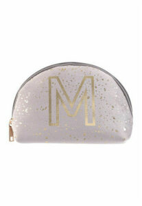 Womens Grey Speckle M Initial Cosmetic Bag