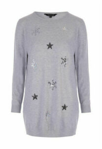 Womens Grey Sequin Snowflake Tunic Jumper
