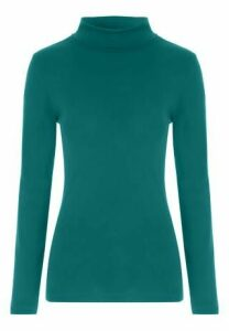 Womens Teal Roll Neck Top