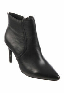 Womens Black Slim Heel Leather Ankle Boots