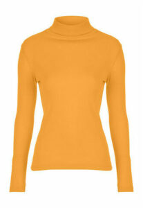 Womens Mustard Roll Neck Top