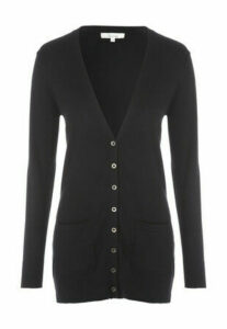 Womens Black Boyfriend Button Cardigan