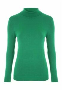 Womens Green Roll Neck Jumper
