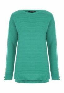 Womens Green Button Sleeve Jumper