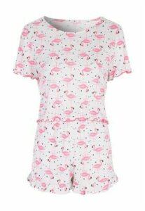 Womens Grey Flamingo Top and Short Pyjama Set
