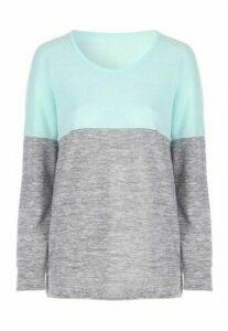 Womens Aqua and Grey Colourblock Snowyarn Pyjama Top