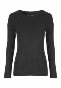 Womens Charcoal Long Sleeve Top