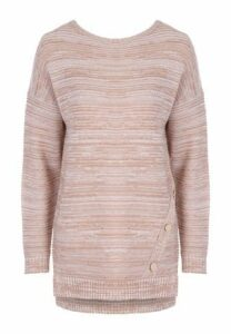 Womens Camel Ribbed Button Detail Jumper
