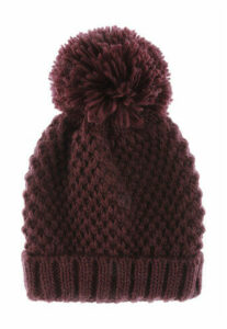 Womens Burgundy Pom Hat