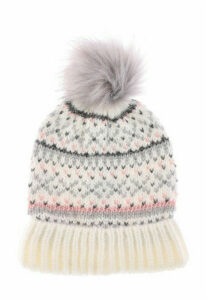 Womens Cream Fairisle Pom Hat