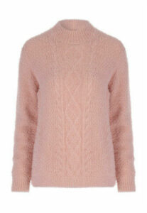 Womens Pale Pink Cable Knit Fluffy Jumper