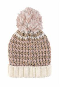Womens Pink Lurex Waffle Pom Hat