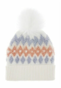 Womens White Fairisle Fluffy Hat